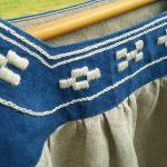 琉球藍染め×ミンサー柄の刺繍
